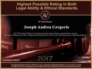 AV Preeminent Rating for Joseph Andrea Gregorio